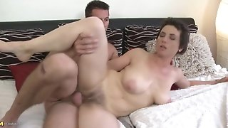 Hairy mature mom takes young sonny man meat