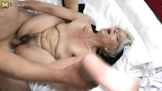 Furry grandma hard boned by young lover