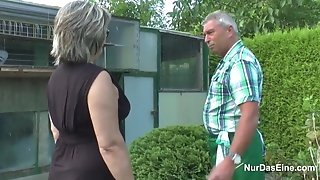 German grandfather and grannie boink rock hard in Garden