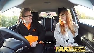 Fake Driving school inner climax in nerdy ginger teenage hairy poon