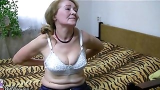 SeniorNanny senior grandma is toying with youthfull fellow and sextoy