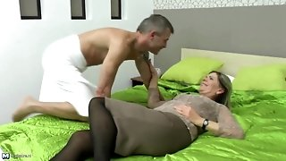 Granny's hairy puss meets young dick