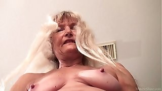 Thin grandmother jerked with fake penis FullHD 1080p 60fps