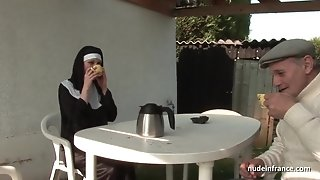 Youthful french nun sodomized in trio way with Papy voyeur