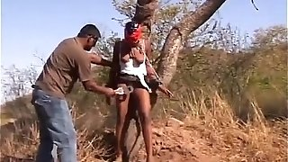 African huge-titted superslut trussed to tree caned male domination