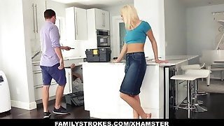 FamilyStrokes - steaming teen penetrates Her Step-Cousin In Kitchen