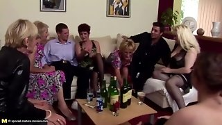 Pissing group intercourse with mature moms and young sons