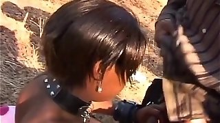 Big-boobed dark-hued African victim Outdoor Missionary