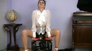 Huge-titted dressed mommy fucky-fucky educator riding fucky-fucky machine
