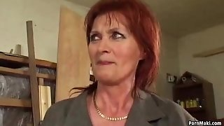 Ginger-haired grannie luvs ass-fuck