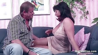 German mummy and daddy in porn casting for less Money