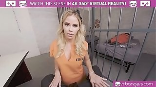VRBangers.com-Beautiful jailer is working your prick to get out of jail