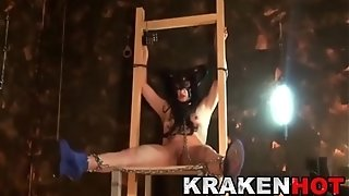 Krakenhot - sadism & masochism with a fettered costume play lady