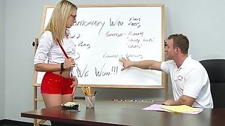 Blonde college dame sucking and penetrating her instructor