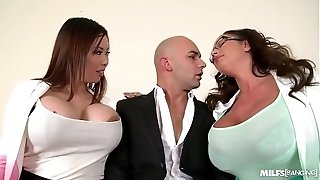 Cougars Tigerr Benson & Emma rump gonzo banged By fat wood On Office Table