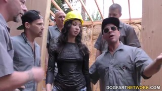 Teanna Trump gets gang-fucked on a construction website
