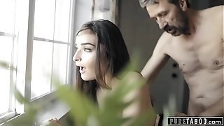 Unspoiled TABOO teenage tart Emily Willis slapped & Creampied by step-father