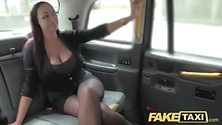 Fake taxi secretary looking doll with immense milk cans and wet muff